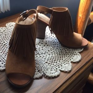 Lucky Brand suede open toe booties